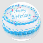 Feliz aniversario com glacé azul adesivo