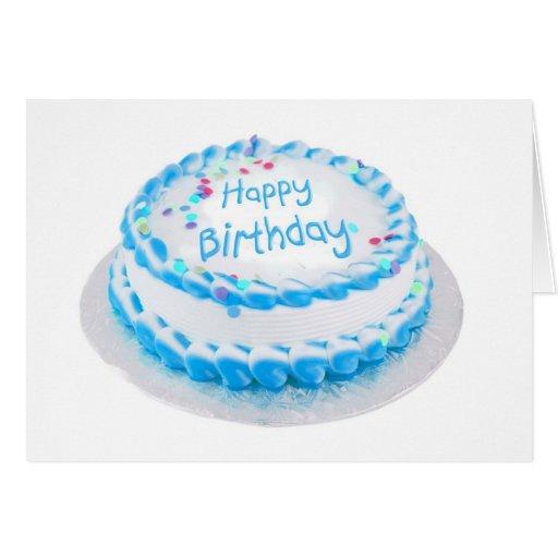 Feliz aniversario com glacé azul cartao