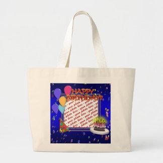 Feliz aniversario com quadro da foto dos confetes bolsa