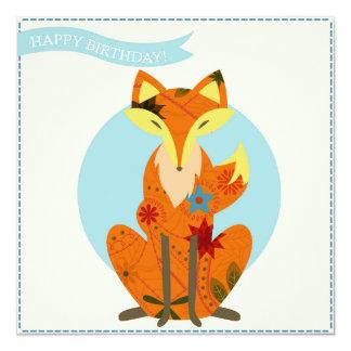 Feliz aniversario com raposa convite quadrado 13.35 x 13.35cm