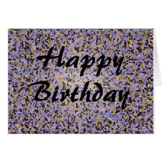 Feliz aniversario contra o fundo do roxo do mosaic cartao
