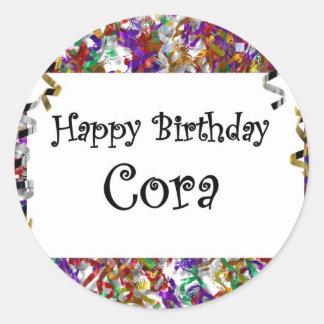 Feliz aniversario Cora Adesivo Redondo