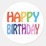 Feliz aniversario - cumprimento colorido feliz adesivo