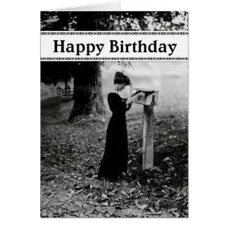 Feliz aniversario da caixa postal do vintage cartao