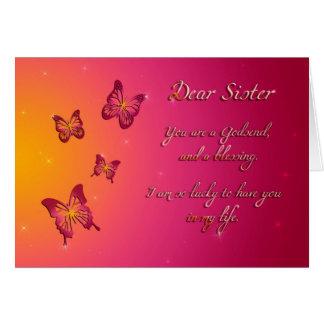 Feliz aniversario da cara irmã cartão comemorativo