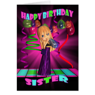 Feliz aniversario da irmã com a torta pequena cartão comemorativo