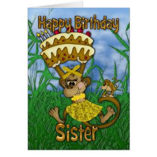 Feliz aniversario da irmã com o bolo da terra cartão comemorativo