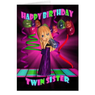Feliz aniversario da irmã gêmea com o Cutie Cartao
