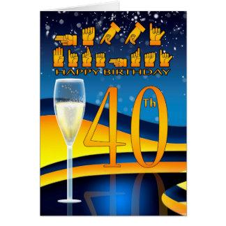 Feliz aniversario da língua surda do aniversário cartão comemorativo
