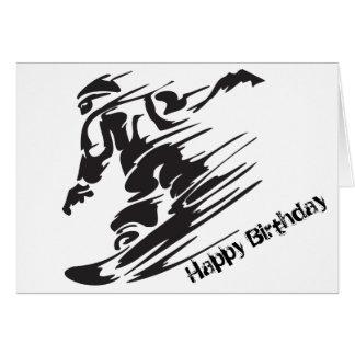 Feliz aniversario da montanha da snowboarding da cartão comemorativo