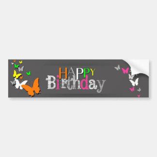 Feliz aniversario das borboletas de néon - adesivo para carro