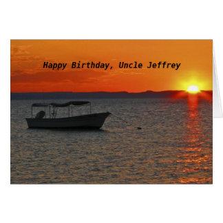 Feliz aniversario de barco de pesca, tio cartão comemorativo