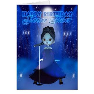 Feliz aniversario de irmã adoptiva que canta a cartão comemorativo
