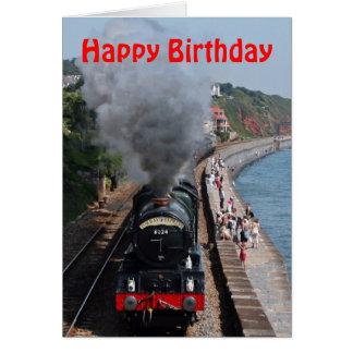 Feliz aniversario de motor de vapor do rei Edward Cartão Comemorativo