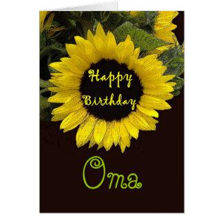 Feliz aniversario de OMA com girassol alegre Cartão Comemorativo