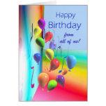Feliz aniversario de tudo - parede do balão cartão comemorativo