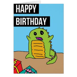 Feliz aniversario: Dinossauro e cometa Cartão Comemorativo