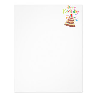 Feliz aniversario do bolo papeis de carta personalizados