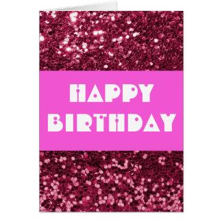 Feliz aniversario do brilho magenta cartão comemorativo