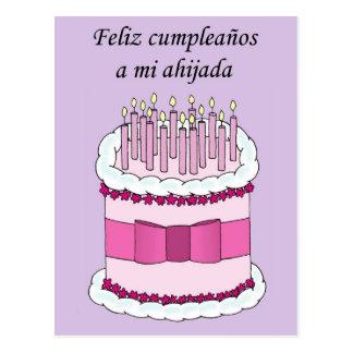 Feliz aniversario do Goddaughter espanhol