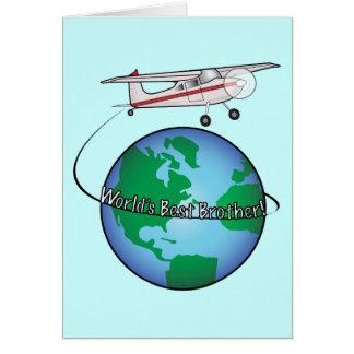Feliz aniversario do irmão com cartão do avião