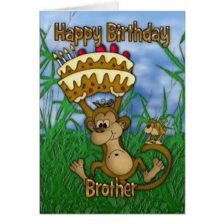 Feliz aniversario do irmão com o bolo da terra cartão comemorativo