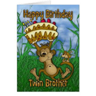 Feliz aniversario do irmão gémeo com o macaco que