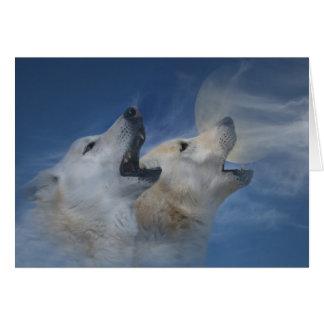 Feliz aniversario do lobo que urra o bom cartão de