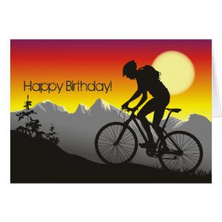 Feliz aniversario do Mountain bike da silhueta Cartão Comemorativo