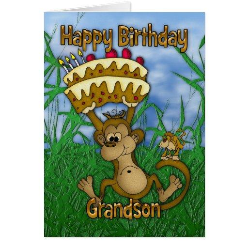 Feliz aniversario do neto com o bolo da terra arre cartão