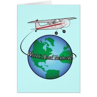 Feliz aniversario do sobrinho com cartão do avião