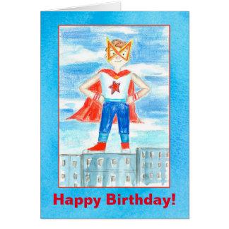 Feliz aniversario do super-herói dos miúdos cartão comemorativo