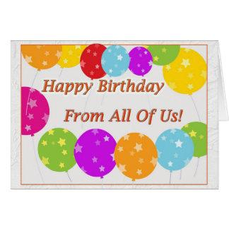 Feliz aniversario dtodos nós! cartão comemorativo