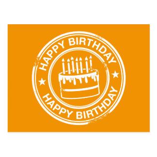 Feliz aniversario - efeito branco do carimbo de cartão postal