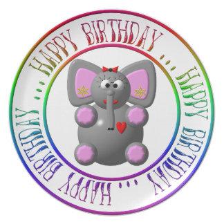Feliz aniversario - elefante bonito com placa dos pratos