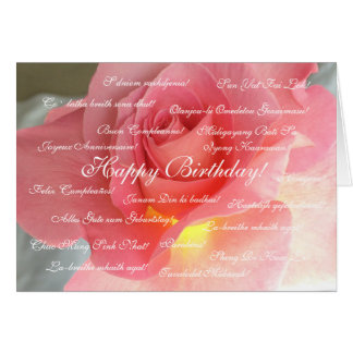 Feliz aniversario em muitas línguas cartão de nota