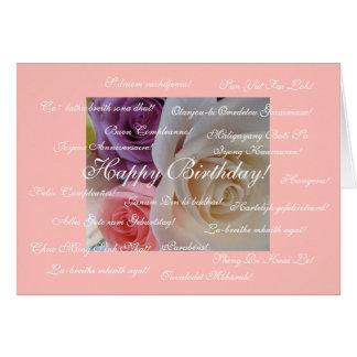 Feliz aniversario em muitas línguas cartão comemorativo