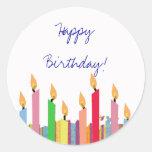 Feliz aniversario - etiqueta adesivos em formato redondos