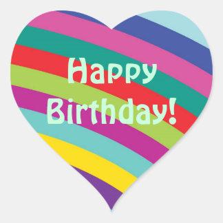 Feliz aniversario - etiqueta do coração