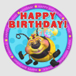 Feliz aniversario! Etiquetas com BeeWee Adesivo Redondo