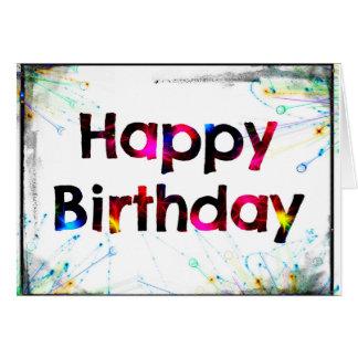 Feliz aniversario (explosão de cor) cartão comemorativo