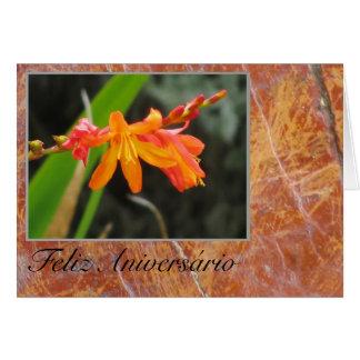Feliz Aniversário - Flor Naranja Cartão Comemorativo