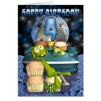 Feliz aniversario, fora deste mundo, alienígena cartão comemorativo