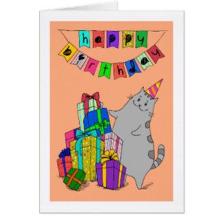 Feliz aniversario - gatinho & uma pilha do cartão