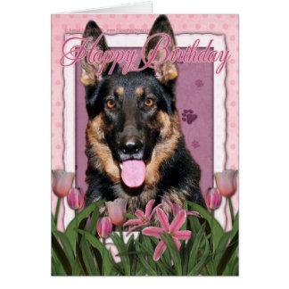 Feliz aniversario - german shepherd - Kuno Cartão Comemorativo