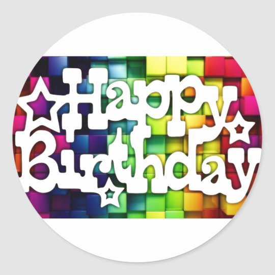 Feliz Aniversário - Happy Birthday Adesivo Redondo