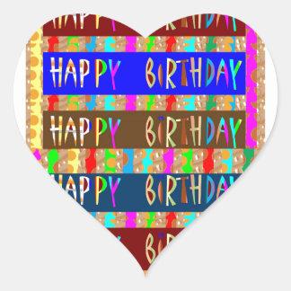 Feliz aniversario HappyBirthday: Roteiro artístico Adesivo Coração