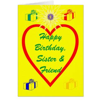 Feliz aniversario, irmã & amigo cartão comemorativo