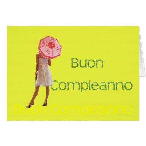 Feliz aniversario italiano cartão