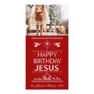 Feliz aniversario Jesus da malha feia do Natal Cartão